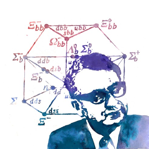 Murray Gell-Mann having a little think, as potrayed by Toya Walker, http://www.toyawalker.co.uk