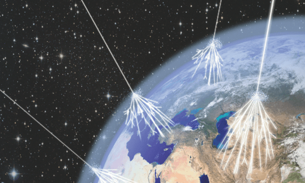 Artists impression of cosmic rays entering Earth's atmosphere. Credit: Asimmetrie/Infn